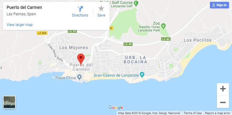 Map Of Puerto Del Carmen Lanzarote
